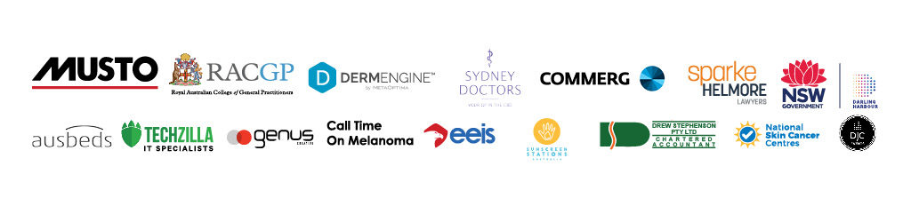 Our Official Partners include Musto, Royal College of Australian Practitioners, DermEngine, Sydney Doctors, Commerg, 6. Sparkle Helmore Lawyers, NSW Government, Darling Harbour, Ausbeds, Techzilla, Genus Creative, Call on Melanoma, EEIS, Drew Stephenson Chartered Accountants, Sunscreen Stations Australia, National Skin Cancer Centres, DJC Events